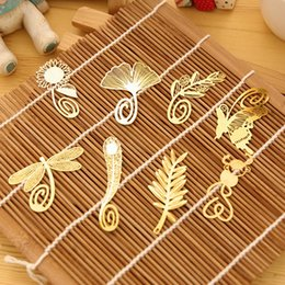 Wholesale NEW Wedding Gold bookmark feather Olive ginkgo metal paragraph Creative Bookmarks 100 pcs