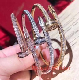 Luxury Chains Australia - Luxury Designer Jewelry Silver Rose Gold Mens Womens Diamond Iced Out Nail Bracelets Chains Bangles