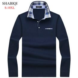Mens Plus Size Silk Shirts UK - Shabiqi Casual Cotton Men Shirt Mens Long Sleeve Solid Polo Shirts Camisa Polos Tops Tees Plus Size 6xl 7xl 8xl 9xl 10xl Q190516