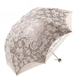 umbrellas flowers UK - 5 Color Lace Flower Umbrella Three Folding Umbrellas Women Sun Rain Umbrella Elegant Princess Lace Sunshade Umbrellas Y19062103