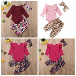Wholesale INS Baby Clothing Sets Floral Baby Girls Rompers Pants Headband Sets Fly Sleeve Kids Outfits Children Clothes Designs DHW2072