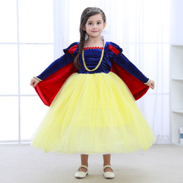 $enCountryForm.capitalKeyWord Australia - 1pcs 2019 Girls Snow White Princess Dress With oversleeve+capes Kids Cosplay costumes Dresses Ruffle Pleated Vintage Formal Occasion Dress