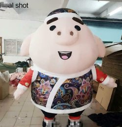 pvc outfits dresses Canada - 2019 2m Inflatable Pig Mascot Costume Suit Advertising Adult Party Dress Outfit Factory Wholesale +++