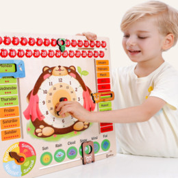 Wholesale Children Calendar Time learning wooden toys Cartoon bear time cognitive board Weather calendar clock Kids STEM educational toys