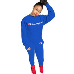 Pink black soccer shirt online shopping - Champion Women Designer Tracksuits Long Sleeve Hoodies Set T shirt Pullover Leggings Pants Two Piece Outfits Sportwear Casual Cloth C8904