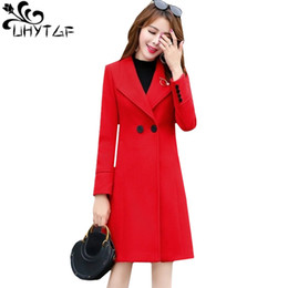3a7166ef3b050 UHYTGF Thin double-breasted Autumn Winter wool coat Fashion cashmere slim  long Woolen coat Elegant women plus size outerwear 169