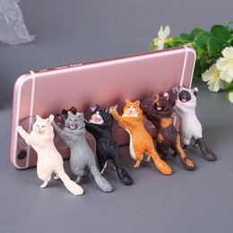 Wholesale Creative mobile phone sucker holder cartoon cute kitten Resin material Each with six colors