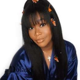 $enCountryForm.capitalKeyWord Australia - Straight Lace Front Wig With Bangs 150% Brazilian Coarse Yaki Human Hair Wigs With Baby Hair Natural Remy Hair