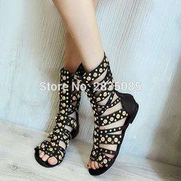 Studs Sandals Australia - Plus Size Fashion Golden Studs Rivet Sandalia Feminina Cut-outs Peep Toe Flat Summer Boots Black Leather Gladiator Sandals Women