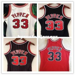 2b629cb6c019 NCAA Cheap Retro  33 Scottie Pippen Mitchell   Ness 1997-98 Jersey Mens  Black White Red embroidery Vintage Vest t-shirt Basketball jerseys