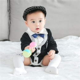 Wholesale Polo Neck Australia - INS New Spring Fall Toddler Baby Boys Gentleman Rompers Polo Bow Tie Collar Jumpsuit Front Buttonn Long Sleeve Cotton Baby Romper 3-18M
