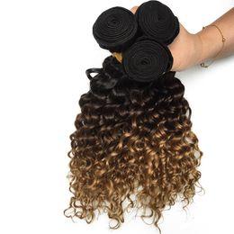 Toning Machines For Hair UK - Three Tone 1B 4 27 Brown Blonde Ombre Human Hair Bundles Deeep Curly Weave Brazilian Virgin Hair 3  4 Bundles for Black Women
