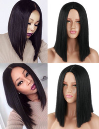 BoB wig synthetic online shopping - Synthetic Straight Hair Black Short Bob Wigs Middle Part Wig for Women