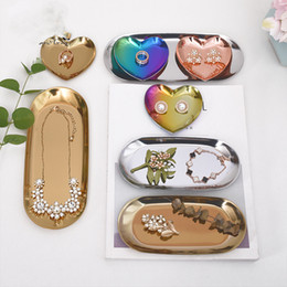 pendant display trays NZ - [DDisplay]Stainless Steel Pendant Jewelry Display Tray Personalized Metal Heart Bracelet Display Holder Exquisite Earrings Display Plate