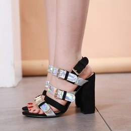 Black Heeled Sandals Australia - 2019 Trendy black silver patchwork laser buckle strappy chunky high heels gladiator sandals size 35 to 40