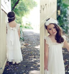$enCountryForm.capitalKeyWord NZ - A Line Custom Cute Long Lace Flower Girl Dress Ankle Length Hand Made Flowers Bows Kids Prom Birthday Dress