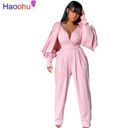 Off shOulder bra online shopping - HAOOHU Batwing Long Sleeve Jumpsuit Women Sexy Off The Shoulder Hollow Out Zip One Piece Outfit Strap Bra Pants Dropshipping