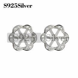 Sterling Silver Earring Blanks Australia - Flower Stud Earring Pearls Mount 925 Sterling Silver DIY Jewelry Blank for Women Girls 5 Pairs