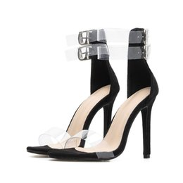 cf457db6eb40 Sexy Transparent PVC Shoes Women Sandals Double Buckle Ankle Strap Ladies  Party Dress Shoes Thin High Heels Gladiator Rome Style