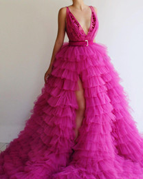 celebrities red carpet skirt UK - Fashion Fuchsia Side Split Tiered Prom Dresses Deep V Neck Ruffles Skirt Tulle Red Carpet Celebrity Dress Puffy Skirt Pageant Gowns
