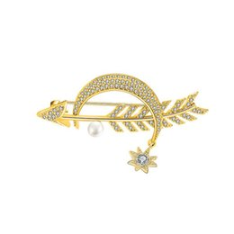 $enCountryForm.capitalKeyWord UK - High Quality Copper Zircon Brooch Pin Curved Moon Bright Stars Cupid's Arrow Represents Love Trend Personality Dress Jewelry
