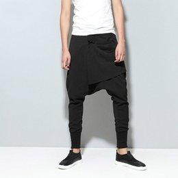 men flat crotch 2019 - Wholesale-Mens Joggers Cargo Men Low Crotch Pants Trousers Sweatpants Harem Pants Men Cross Pants Men Pantalones Hombre