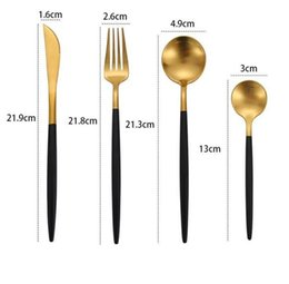 cutlery wedding gifts Canada - new novely Portuguese tableware stainless steel set golden flat spoons kitchen bar cutlery flatware set top grade wedding fork spoon gift
