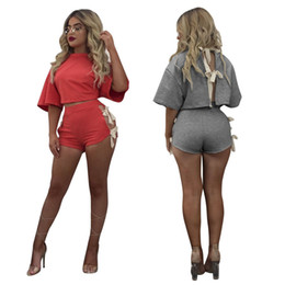 summer short pants set for woman Australia - Summer Fashion Street Bat Wing Short Sleeves Lace Up Back Loose Short T-shirt Short Pants Two Pieces Sets Sport Wear Tracksuits for Women