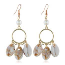 Earrings For Summer Australia - Tisonliz Bohemian Bead Shell Pendant Tassel Dangle Earrings For Women Statement Drop Earrings 2019 Summer Beach Jewelry Gift