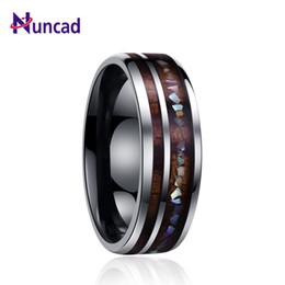 $enCountryForm.capitalKeyWord NZ - Nuncad Classic Men Rings Wide 8mm Veneer Handmade Inlay Broken Shell Tungsten Carbide Ring For Husband's Gift Dropshippingt098r Y19052201