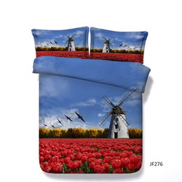 $enCountryForm.capitalKeyWord Canada - Tulip Flower Bed Cover 3 Piece Bedding Set With 2 Pillow Shams Forest Bedspread Galaxy Coverlet Windmill Duvet Cover Set Gifts For Girl Kids