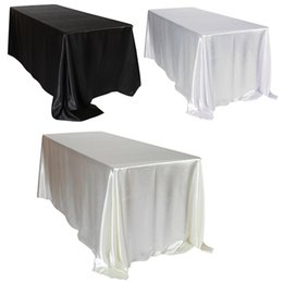 Decoration For Party Tables NZ - 1pcs 228x335cm White Black Satin Tablecloth Rectangular Hotel Banquet Table Cloth For Wedding Party Christmas Home Decoration