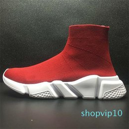 best mens slip on boots Australia - Best Quality Speed Trainer Black Designer Sneakers Mens Women Black Red Casual Shoes Fashion Socks Sneaker Top Boots Size 36-47