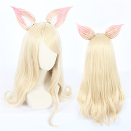 Character Wigs NZ - Game Character LOL K DA Ahri Cosplay Wigs70cm with ears KDA Heat Resistant Synthetic Hair Perucas Cosplay Wig