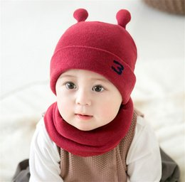 Baby Beanies Patterns Australia - Unisex Children Little Snail Crochet Knitted Caps And Scarf Winter Warm Earflap Suit Set Baby Toddler Warm Kids Cute Pattern Beanies Hat Set
