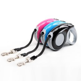 reflective small dog collar UK - Reflective Line Dog Leads Retractable Leashes Small Size 3M For Dog Walking Automatic Adjustable Collar Leashes Pets Supplier