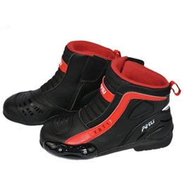 Moto Shoes UK - Motorcycle Boots Microfiber Leather Motocross Men Moto Riding Boots Shoes Motorcycle Protection Breathable Moto Boots