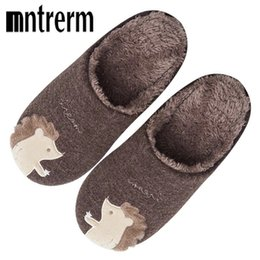 Discount house slippers man animals - Mntrerm Indoor House Slipper Soft Plush Cotton Animal Slippers Shoes Large Size Floor Home Plush Slippers Men Shoes For