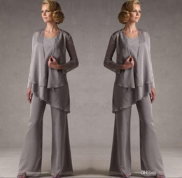 $enCountryForm.capitalKeyWord Australia - Mother Of The Groom Grey Chiffon Bridal Mother Bride Pant Suits With Jacket Women Evening Pant Suits Robe De Mere De Mariee DH325