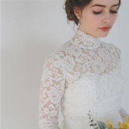 $enCountryForm.capitalKeyWord Australia - Vintage High Neck Long Sleeve Lace Appliques Wedding Bolero Cap Jackets Sheer Bridal Ivory White Custom Jacket Size S M L XL