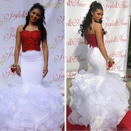 $enCountryForm.capitalKeyWord Australia - 2019 Black Girls White And Red Mermaid Prom Dresses Spaghetti Straps Arabic Long Evening Gowns Tiered Skirt African Graduation Party Dress