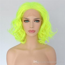 Green Color Lace Wig Australia - Free Shipping Fashion 14inch Short Wavy Green Color Heat Resistant Fiber Hair Cosplay Party Glueless Synthetic Lace Front Wig For Women