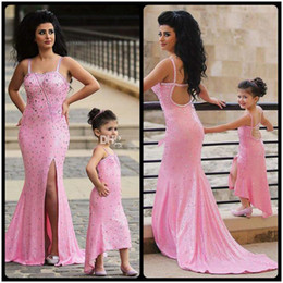 1708289c07a Sparkling Crystal Beaded Pink Sequined Mother And Daughter Matching Dress  Sexy Spaghetti Strap Slit Mermaid Prom Dresses 2019 Newest Evenin