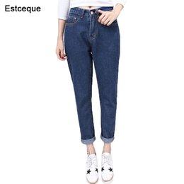 8fc15f889658b8 2018 New Slim Pencil Pants Vintage High Waist Jeans Womens Pants Ankle  length Pants Loose Cowboy Trouser D18122602