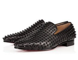 Christian Louboutin CL Moda Preto Glitter Spikes Cravejado de Fundo Vermelho Loafers Sapatos Men Flats Wedding Party Senhores Vestido Sapatos Oxford on Sale