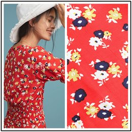 $enCountryForm.capitalKeyWord NZ - 1 Meter Bright Red Floral Cotton Fabric For Clothing Dress Patchwork Japan Diy Flower sewing material garment telas
