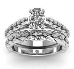 $enCountryForm.capitalKeyWord UK - Exquisite Women's 925 Silver Floral Ring Set Diamond Flower Jewelry Proposal Gift Rings Bridal Wedding Band Free Shipping(2pcs)