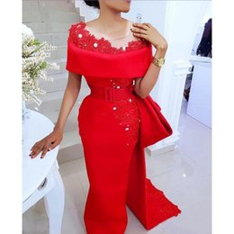 645c51b1aa85 Arabic engagement plus size long arabic red evening formal dresses 2018  mermaid prom dresses party wear Abendkleider Sheer Neck Bow Train