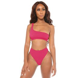 e452548b1c2 Women Two Pieces Bikini Sets Tankinis Solid Color Sexy Bikini with One  Shoulder Reveal Back Bra Underwears Briefs Swimsuits