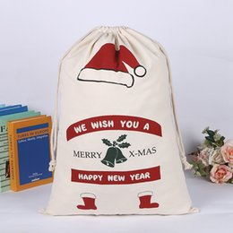$enCountryForm.capitalKeyWord Australia - 2019 Hot Sale Christmas GiftBag Drawstring Bags Canvas Bags Large Organic Heavy 50*70cm Santa Sack for kids gifts